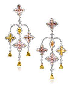 Cellini Jewelers carries Fancy Color Diamond Fleur de Lis Chandelier Earrings. Visit our stores or shop online at www.cellinijewelers.com today.
