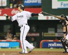 Hiroyuki Nakajima follows through after launching a game-tying two-run shot - his 8th of the year, 3rd game in a row - to left with 1 out in the 8th inning at Seibu Dome on 'Kazuhisa Inao Day' - Sunday, July 1, 2012.
