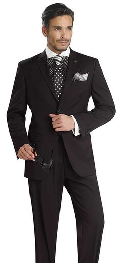 Black Modern Fit Suit by EJ Samuel Collection
