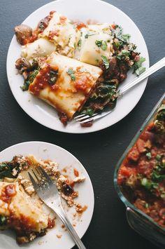 Tofu ricotta lasagne rolls