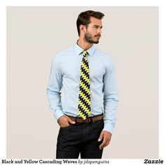 Black and Yellow Cascading Waves Neck Tie
