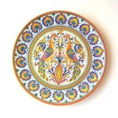 "DECORATIVE PLATE: PEACOCK WITH PEACOCK FEATHER BORDER: 16"" (40cm) Diameter.    This Plate is Drilled for Hanging.    This Piece is hand painted in Deruta.    #Vail #Colorado #Gubbio #GualdoTadino #Umbria #Deruta #Italy #Ceramics #Dinnerware #Tuscany #Majolica #Renaissance"