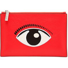 KENZO Embroidered Eye Leather Clutch Bag (163.465 CLP) ❤ liked on Polyvore featuring bags, handbags, clutches, accessories, red, leather pocket purse, red handbags, real leather handbags, red purse and 100 leather handbags