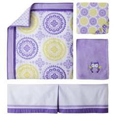 Circo® 4pc Crib Bedding Set - Purple Medallion  TARGET.  GREEN and purple (sadly not yellow)