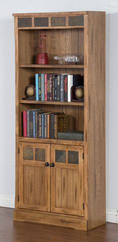 The Sunny Designs Sedona Bookcase with Doors - Rustic Oak is a truly elegant way to store and display your favorite books. This tall bookcase features. Bookcase Door, Bookcases, Office Cabinets, Country Decor, Office Furniture, Home Office, Tall Cabinet Storage, Shelves, Rustic