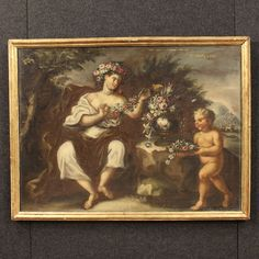 "2600€ Italian painting depicting ""Spring"" of the 18th century. Visit our website www.parino.it #antiques #antiquariato #painting #art #antiquities #antiquario #canvas #oiloncanvas #landscape #quadro #dipinto #arte #tela #decorative #interiordesign #homedecoration #antiqueshop #antiquestore #spring"