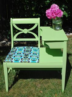 Vintage Gossip Bench (Telephone Table) Painted Kiwi Green with Reupholstered Seat Vintage Telephone Table, Table Vintage, Vintage Decor, Furniture Makeover, Diy Furniture, Furniture Refinishing, Furniture Projects, Gossip Bench, Painted Furniture