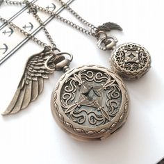 His and Hers Pocket Watch necklace  wing charm by Victorianstudio, $39.99For more item, Please visit my shop. https://www.etsy.com/ca/shop/Victorianstudio *****Like us on Facebook to get 10% off couple or free gift !!!***** https://www.facebook.com/victorianstudio123