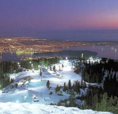 Skiing on Grouse Mountain, Vancouver.