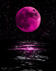 Cute,Pink moon shining above the sea! Cute Wallpaper Backgrounds, Pretty Wallpapers, Galaxy Wallpaper, Live Wallpapers, Beautiful Nature Wallpaper, Beautiful Moon, Moon Pictures, Pink Moon, Galaxy Art
