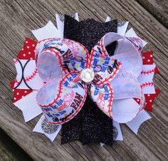 """Biggest Fan"" baseball bow!  Perfect for little sisters to wear to their big brother's baseball games! Made by Peanut Pie Creations"