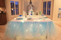 Sparkly Frozen birthday party! See more party planning ideas at CatchMyParty.com!
