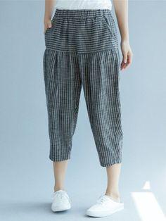 HG Striped Splice Linen Harem Pants Women Fashion Simple Elastic Waist Calf Length Pants Casual Loose Match All Autumn Cotton Pants, Linen Pants, Fashion Pants, Fashion Outfits, Fashion Fashion, Pants For Women, Clothes For Women, Plus Size Pants, Swim Dress