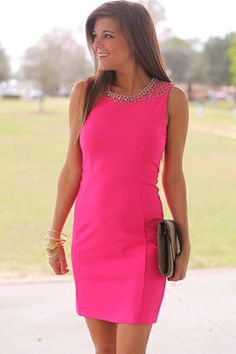 """This. Dress. Is. GORGEOUS!!! The hot pink color is breathtaking and we love the way this piece hugs your figure. Plus, did you see the beading on the shoulders?! We are in love!   Fits true to size. Miranda is wearing a small.   From shoulder to hem:  Small - 32""""  Medium - 33""""  Large - 34"""""""