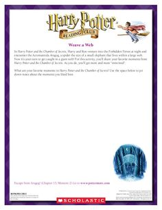 GAME: Become entangled in Aragog's web! Download by clicking the image above! For more activities visit www.scholastic.com/hpread #HarryPotter #HPread
