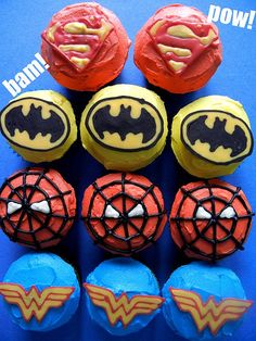 These superpower cupcakes are super colorful.