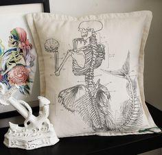 Antique Anatomical Mermaid Pillowcase, silk screened cotton 17x17. $32.00, via Etsy.