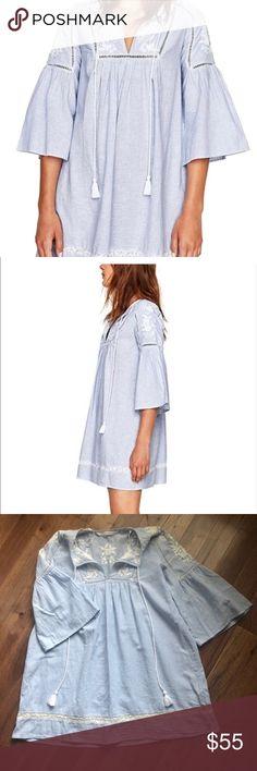 d43fe953788 Zara Boho Embroidered Striped Bell Sleeves Dress Zara boho embroidered  striped bell sleeves dress. Zara