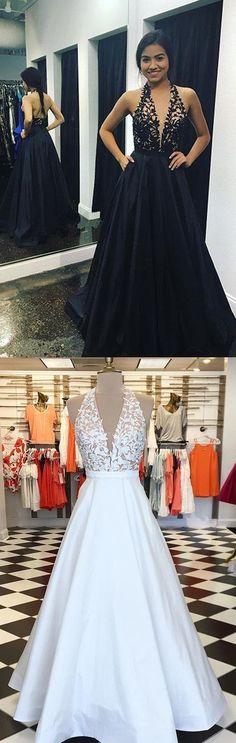 Stunning V-neck Halter Backless Satin Long Prom dresses Taffeta Evening Dress