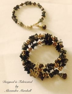 It's time to start making plans for Fall. These Smoky Quartz and Swarovski Crystal Copper bracelets by Alexandra Marshall are available as a single strand with magnetic clasp (#B2331...$29.) as well as a three strand memory wire wrap (#WB2331...$59.).