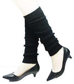 Kuugoods Black Xpatterns Winter Knit Crochet Leg Warmers Leggings * Click image to review more details.