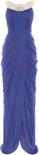 Adrianna Papell Embelished Neck Full Length Gown in Blue (Lilac) - Lyst     jaglady