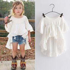 Toddler Kids Girls Casual Irregular T Shirt Tops Princess Ruffled Tee Mini Dress | eBay