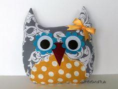 Alice Gray Damask and Golden Yellow Owl Pillow by 3LittleDutchKids, $25.00