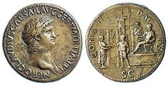Coin issued under Claudius celebrating young Nero as the future emperor, c.