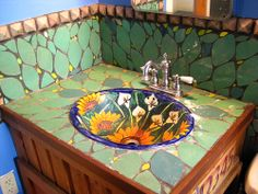 Pretty tile in the bathroom. San Cristobal trading post