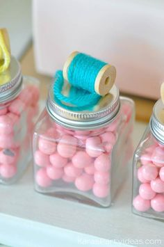 Thread jars at a sewing themed birthday party via Kara's Party Ideas 10th Birthday Parties, 80th Birthday, Birthday Party Themes, Girl Birthday, Carnival Birthday, Tween Party Games, Fun Party Themes, Party Ideas, Sewing For Beginners Diy