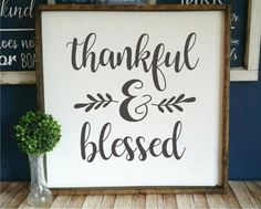 DIY farmhouse style sign with VINYL stencil or vinyl DECAL! Your choice! Thankful & Blessed