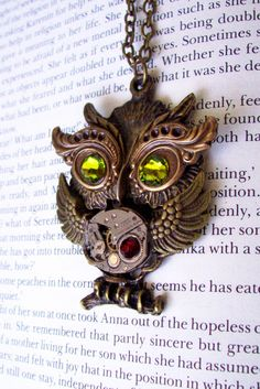 Steampunk Owl Necklace N209  Owl Pendant