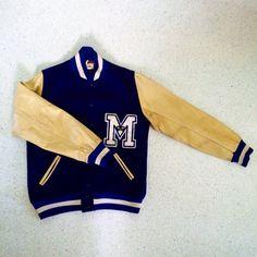 Custom Vintage Navy Blue + Beige Wool and Leather Varsity Jacket + Size 44 by ShopKingDude on Etsy