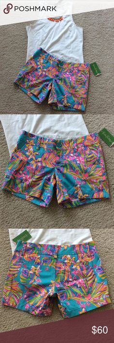"""Lilly Pulitzer Callahan Summer Haze shorts Lily Pulitzer Callahan Summer Haze shorts in Sea Blue. Gorgeous print Pockets, belt loops. Front zip and button closure. 5"""" inseam. 100% cotton. Laying flat waist approx 15"""" across. Size 00. NWT, never worn. #408 Lilly Pulitzer Shorts"""