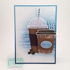 Juana Ambida: Stampin' Up! Coffee Cafe,  Coffee Cups Framelits, Coffee Break DSP : June ColourINKspiration #11 - Guest Designer -  Early Espresso, Marina Mist and Soft Suede