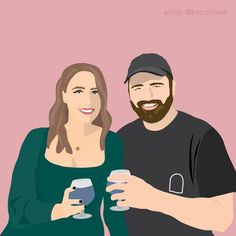 Order your custom, one-of-a-kind illustration. Illustrated by a professional designer in a modern, block colour style. Perfect for a gift, to use on social media or as a print in your home/office. Digital Illustration, Vector Art, Color Blocking, Social Media, Colour, Rose, Creative, Modern, Gift
