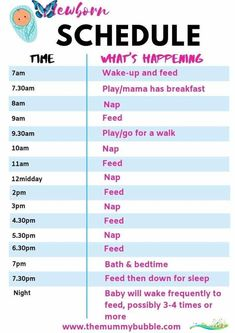 How to survive your first week with a baby - The Mummy Bubble Sample newborn baby schedule. Tips for coping in the first week with a newborn baby #newborn<br> Wondering how to survive in the first week with your newborn baby? Check out these tips for feeding, sleeping and caring for your newborn, plus how to look after your body postpartum. Baby Schlafplan, Newborn Baby Tips, Newborn Care, Newborn Baby Needs, Newborn Babies, Newborns, Baby Sleep Schedule, Baby Feeding Schedule, Toddler Schedule