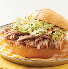 Southerners take their barbecue very seriously. The sauce on these North Carolina Pulled Pork Sandwiches is peppery and vinegar-based. No tomato in sight! One thing everyone can agree on is that the coleslaw on top is key.