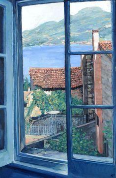 Window Torri del Benaco Italy  -   Hector McDonnell  Irish, b. 1947-  Oil on Canvas 30 x 20 inches