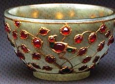 JADE CUP inlaid with gold set with rubies, emeralds, turquoise, sapphire and glass. India, Mughal or Deccan, latter 16th-early 17th C.