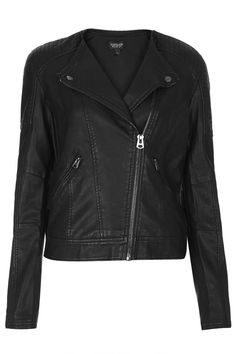 Collarless Faux Leather Biker Jacket | Topshop USA