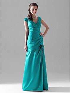 Trumpet/Mermaid V-neck Floor-length Satin Bridesmaid Dress  – GBP £ 58.11