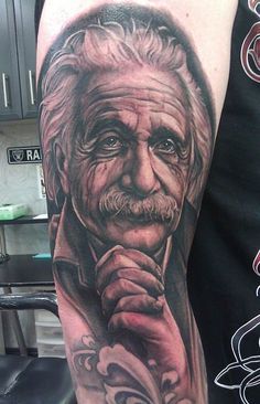 This portrait of Albert Einstein by Fernie Andrade may be the smartest tattoo we've seen. #InkedMagazine