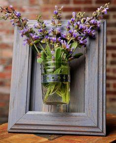 Framed Mason Jar Wall Sconce Pale Blue Flower/ Plant/ Candle Holder on Wanelo