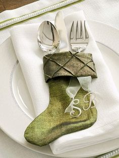 put utensils in stocking - match the colour to your theme (silver, red etc)