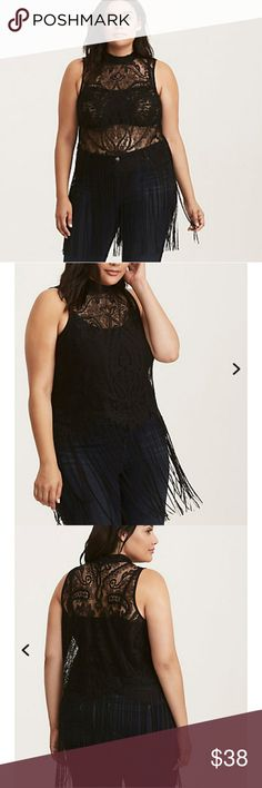 Black lace fringe top Torrid size 1 Sleeveless mock neck black lace top by Torrid.  Size 1 (16-18) has long fringe at bottom.  Wear a tank or bralette under and dance the night away! New with tags. torrid Tops Crop Tops