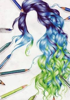 Drawing of purple blue and green curly hair - I