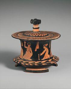 Terracotta pyxis (box),Classical Date, ca. 425–400 B.C. Greek, Attic red-figure