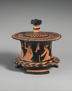 Terracotta pyxis (box),Classical Date, ca. 425–400 B.C. Greek, Attic red-figure